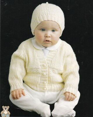 Baby Knitting Pattern Copy CARDIGANS and Hats in 8 ply