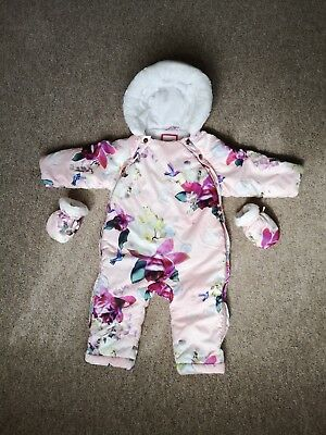Ted Baker- baby girl's floral snowsuit Size 9-12 months