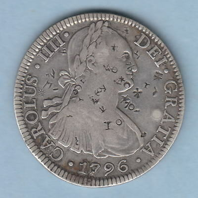 Mexico. 1796-FM 8 Reales..  aVF - many Chinese chop marks, both sides