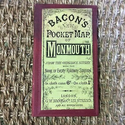 Early Victorian Hand Coloured Bacon's Map On Cloth Monmouthshire