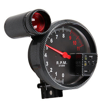 "5 ""11K RPM Drehzahlmesser Tacho Tachometer Gauge Einstellbar + Rot Shift Light"