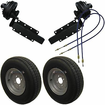 "750kg Braked Trailer Suspension Units with 10"" Wheels & Tyres Brake Cables"