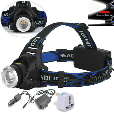 Zoom Headlight Torch T6 LED Headlamp Head Light Lamp + Charger+ 18650 Battery UK