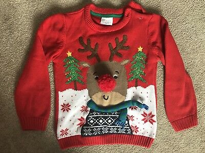 Boys Reindeer 3d Christmas Jumper Age 12-18 Months - Perfect Condition
