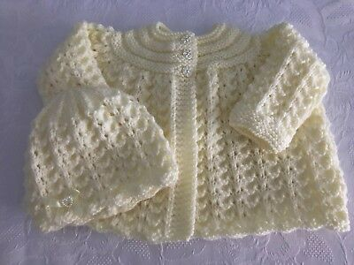 New Hand knitted Baby Girl's Lemon Matinee cardigan and Hat  0-3 Months