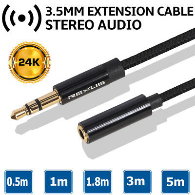 5m Braided Headphone Extension Cable 3.5mm Male to Female Stereo Aux Audio Cable