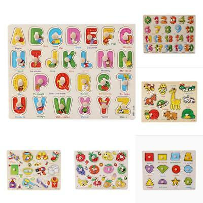 Wooden Puzzle Digital Letter Animal Fruit Learning Cognition Jigsaw Puzzle Toy