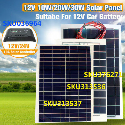 10W/20W/30W 12V Semi Flexible Solar Panel Battery Charger Off Grid Controller