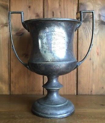 antique large silver plate Coronation Cup Football trophy, loving cup, trophies