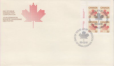 Canada #924 32¢ Maple Leaf Definitive Ul Plate Block First Day Cover