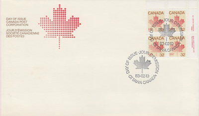Canada #924 32¢ Maple Leaf Definitive Ur Plate Block First Day Cover