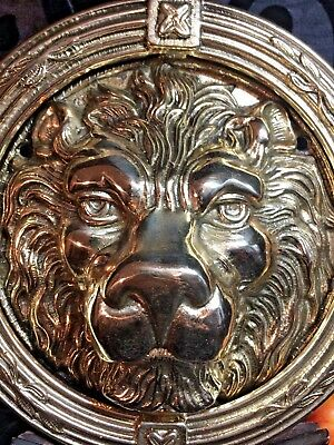 antique large heavy solid cast polished brass lion's head door knocker 8 5/8""