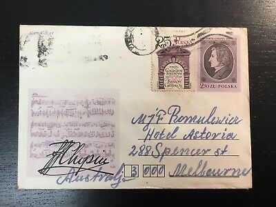 1982 Poland Envelope Cover Of Fryderyk Chopin Posted To Melbourne Unopened Rare