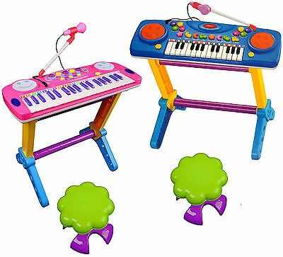 Kids Childrens 44 Key Electronic Keyboard Piano Musical Light Play Set Toy Mic