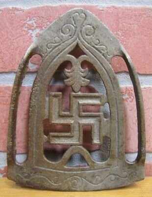 Antique Cast Iron 'Good Luck Symbol Swirling Logs Swastika' Trivet early 1900s