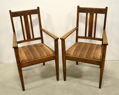 STUNNING 19TH CENTURY PAIR OF ARTS & CRAFTS CHAIRS WITH STRIPE CUSHIONS antique