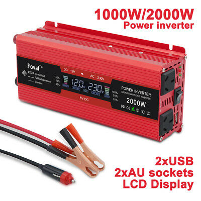 2000w 4000w car charger converter power inverter DC 12v to AC 240v 2 USB camping