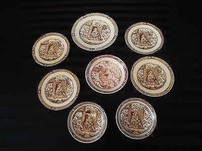 8pc Little Mae & her Pets English Staffordshire Dishes Bowls Brown Red Tea Set