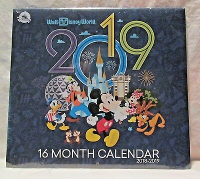 Disney Parks 2019 Walt Disney World 16 Month Wall Calendar New  & Sealed