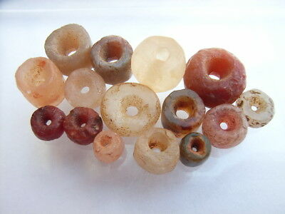 15 Ancient Neolithic Carnelian, Rock Crystal, Quartz Beads, Stone Age, RARE !!
