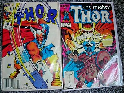 MIGHTY THOR 337 342 TWO Marvel comics 1st SIMONSON BETA RAY BILL FVF modern age