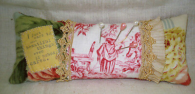 OOAK Handmade PINCUSHION Red Toile Fabric Old Trim Pleated Silk & Quote