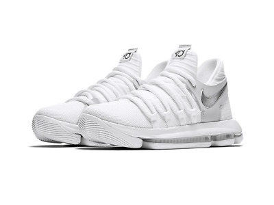 a03df44d86d2 New Nike Zoom KD10 X GS Basketball Shoes White Chrome Platinum 918365-100  Boys