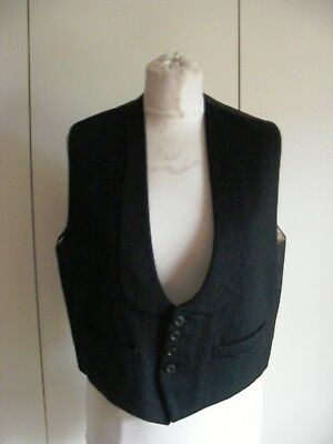 Vintage black wool formal wear evening waistcoat by J Baker dated 1954 chest 38""
