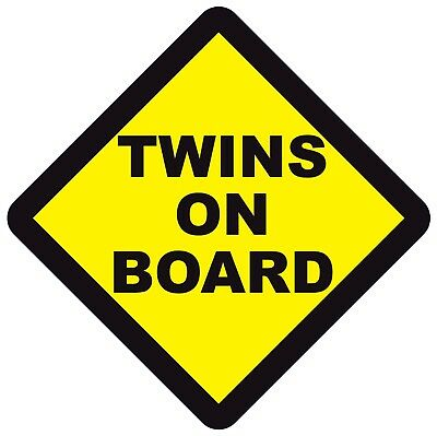 TWINS ON BOARD WARNING SAFETY SIGN Sticker Vinyl Decal for car vehicle window