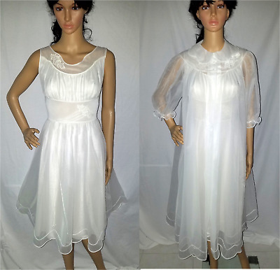 GORGEOUS VTG SHADOWLINE CHIFFON LACE Bridal PEIGNOIR NIGHTGOWN ROBE SET 32 S