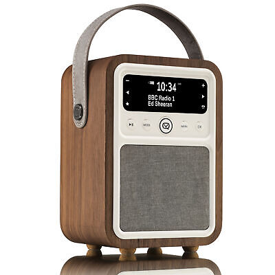 VQ Monty DAB+ Digital Radio with AM & FM, Bluetooth  – Real  Wood Case Walnut