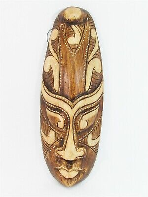 """Tribal Mask 12"""" Wooden Hand Carved & Painted Bali Indonesia Wood Brown"""