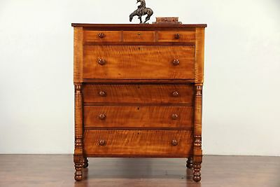 Empire Antique Curly Tiger Maple Cherry Chest Or Dresser Ohio 29762