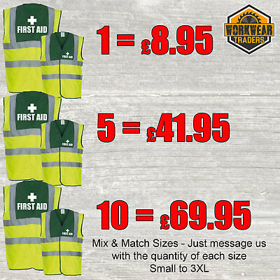 Yellow/Green High Hi Vis First Aid Aider Medical Safety Vest Discount Pack