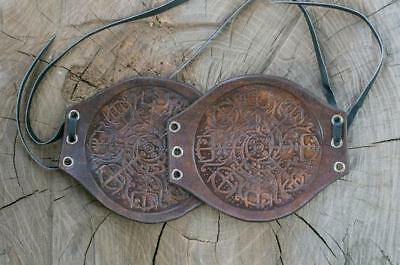 Icelandic Amulet- Runic Nordic Talisman - Carving Leather Cuffs Bracers