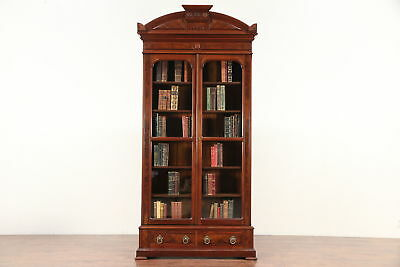 Victorian Antique Walnut & Burl Library Bookcase, Wavy Glass Doors #29734