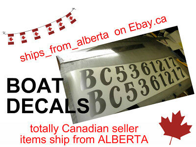 Free Shipping for a set of TWO custom boat registration number decals. Canada