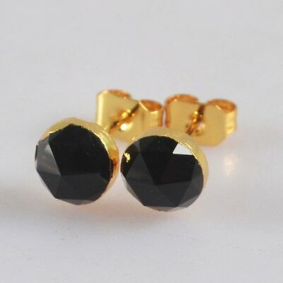 6mm Round Black Chalcedony Faceted Stud Earrings Gold Plated T068644