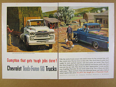 1959 Chevrolet Chevy Apache 32 Pickup Lcf Truck Color Art Vintage
