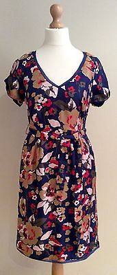 Hobbs Blue Silk Floral Holly Dress Size 8 Bnwts Rrp £ 139.00