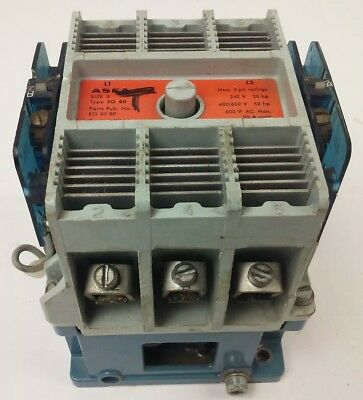 Asea, Eg80 Contactor, Size 3, 3Ph, 600V, 90A Cont.,120V Coil, 480/600V@50Hp,used