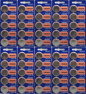 Lot of 50 FRESH NEW SONY CR2025 Lithium Battery 3V Exp 2027 Coin Cell Battery