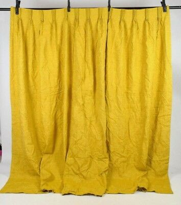 "Vintage 70s Mustard Yellow Textured Curtain Panels Drapes Window Lined 64"" x 82"""