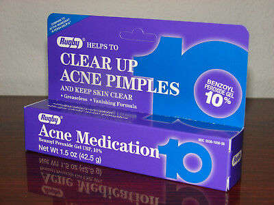 Rugby Acne Pimple Medication Gel Benzoyl Peroxide 10% Max Strength 1.5oz * 03/20