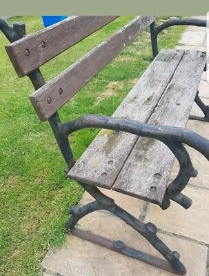 Victorian Cast Iron Vintage 2 Seater Garden Bench Wood Is Sound  tree branch