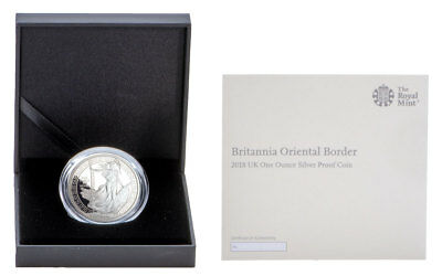 2018 Britain 1 oz Silver Britannia Oriental Border £2 GEM Proof Coin SKU55146
