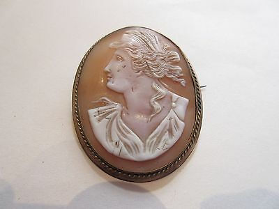 "LARGE 2.1/4"" STUNNING ANTIQUE CARVED SHELL CAMEO BROOCH Long Pin"