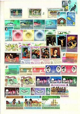 St. Christopher, Nevis, Anguilla, Lot Of Mnh Stamps, 6 Pages