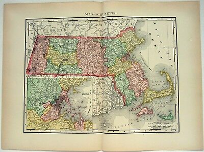 Original 1895 Map of Massachusetts by Rand McNally. Antique