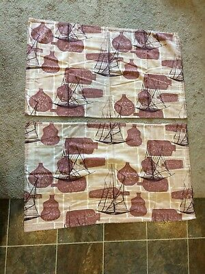 Vintage 1950's Mid Century Modern Cafe Curtains Set Of 2 Panels